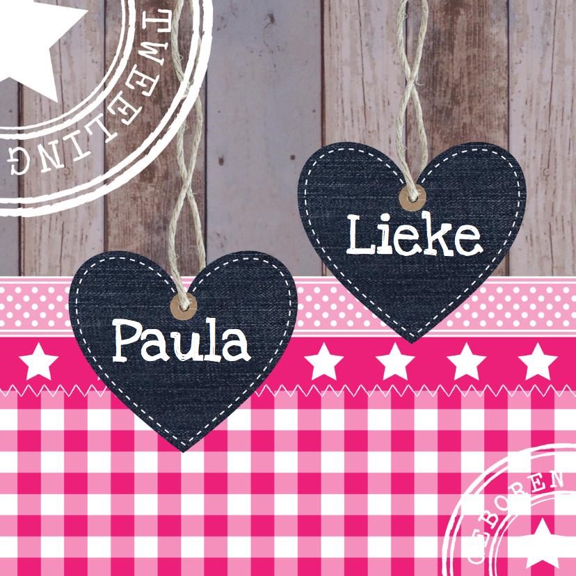 Geboortekaartjes - Geboortekaartje tweeling meisjes hartjes - LB