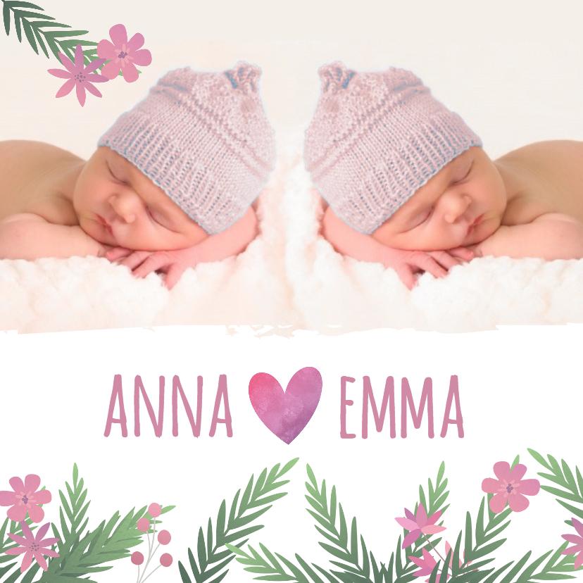 Geboortekaartjes - Geboortekaartje tweeling meisjes met bloemen