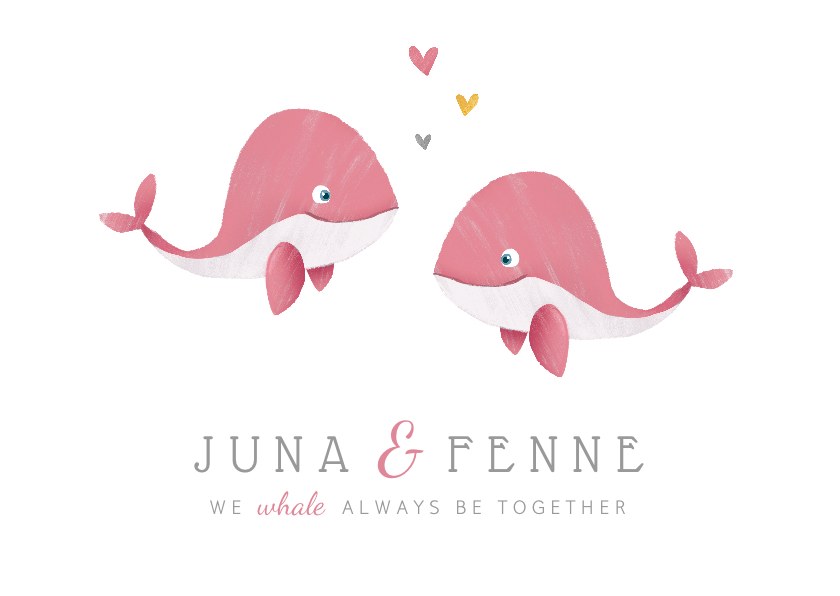 Geboortekaartjes - Geboortekaartje tweeling meisjes met schattige walvisjes!