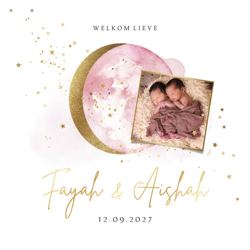 Geboortekaartjes - Geboortekaartje tweeling met foto maan en sterren in goud