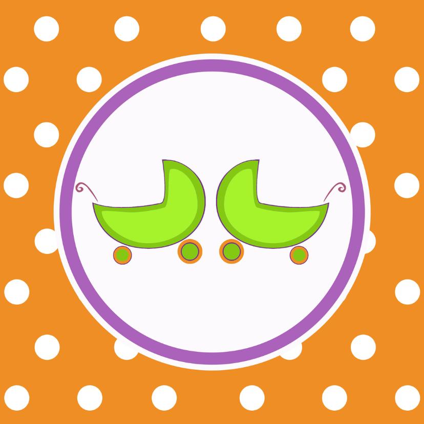 Geboortekaartjes - Geboortekaartje tweeling met wiegjes