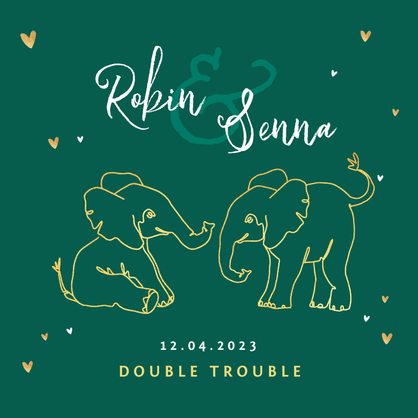 Geboortekaartjes - Geboortekaartje tweeling olifant dieren zusje broertje goud