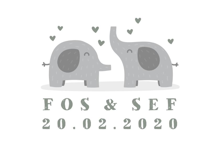 Geboortekaartjes - Geboortekaartje tweeling olifantjes met hartjes