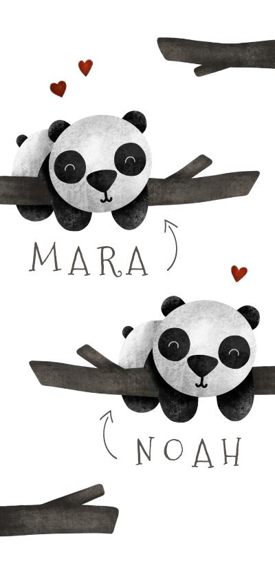 Geboortekaartjes - Geboortekaartje tweeling panda's met takjes lief