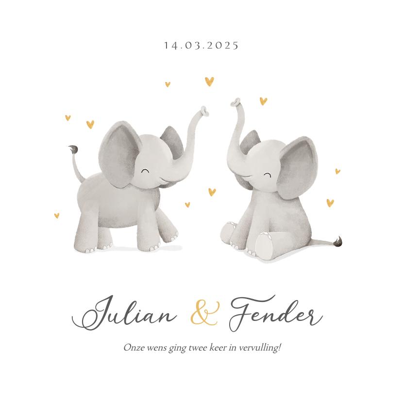 Geboortekaartjes - Geboortekaartje tweeling unisex olifantjes hartjes goud foto