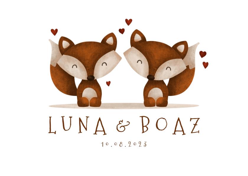 Geboortekaartjes - Geboortekaartje tweeling vosjes met hartjes lief