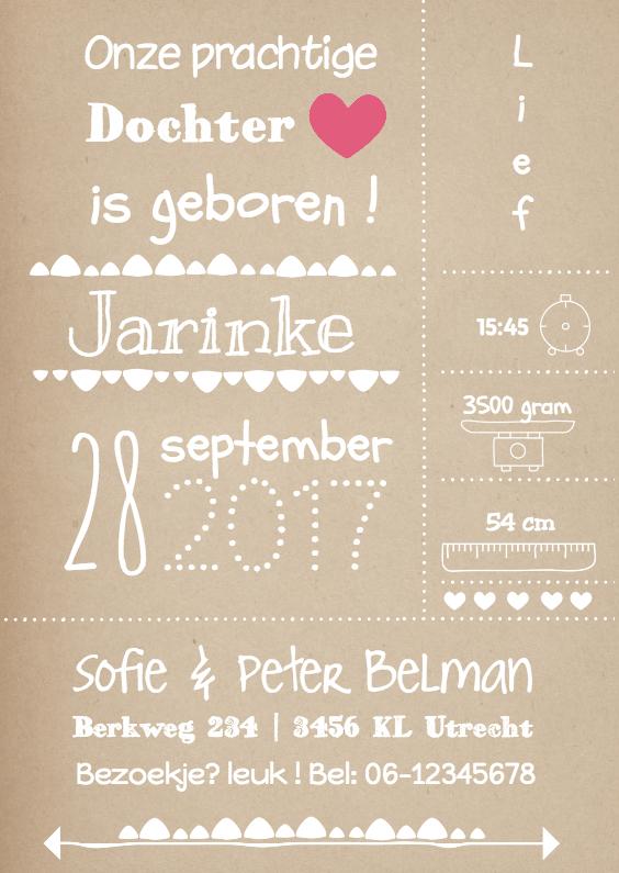 Geboortekaartjes - Geboortekaartje Typografie meisje