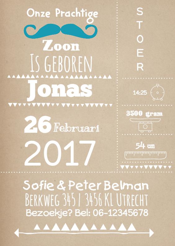 Geboortekaartjes - Geboortekaartje Typografy Jonas