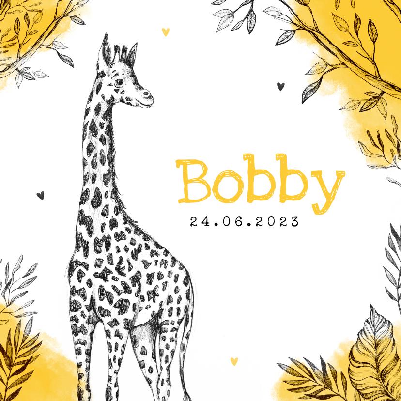 Geboortekaartjes - Geboortekaartje unisex giraf dieren jungle okergeel