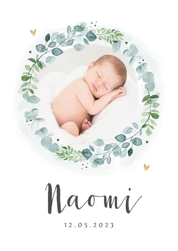 Geboortekaartjes - Geboortekaartje unisex krans eucalyptus foto hartjes