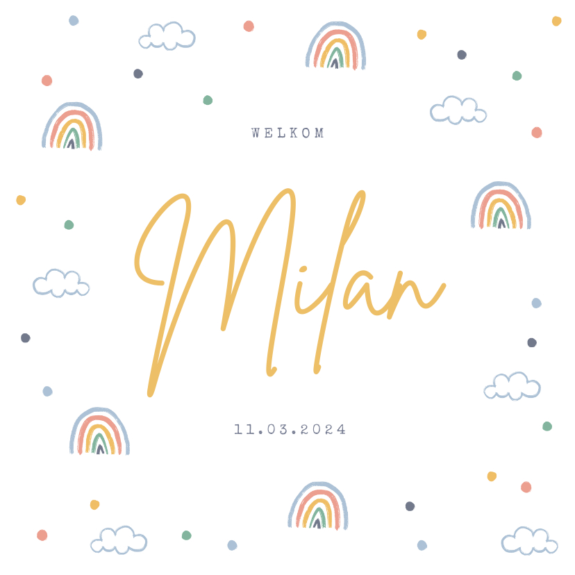 Geboortekaartjes - Geboortekaartje unisex regenboogjes wolkjes confetti