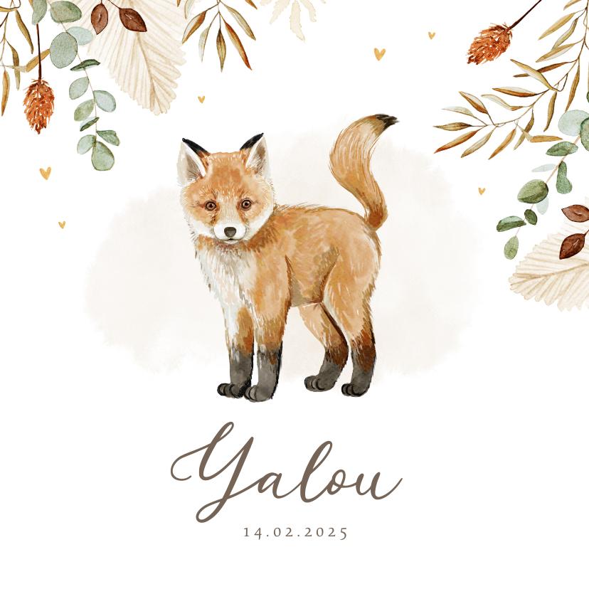 Geboortekaartjes - Geboortekaartje unisex vosje waterverf hartjes goud