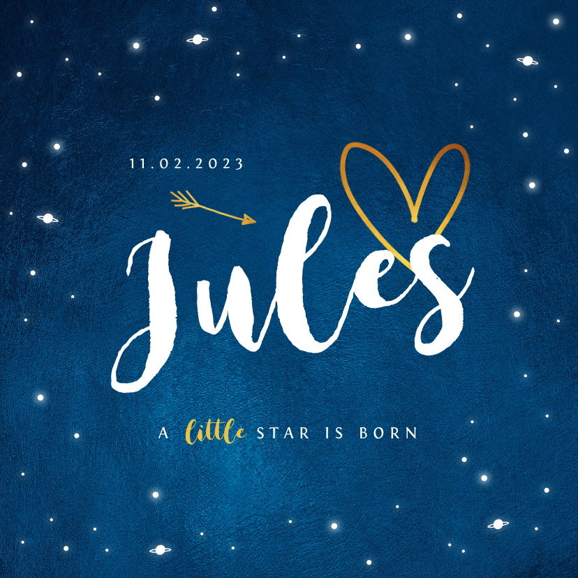 Geboortekaartjes - Geboortekaartje universum goud sterren jongen