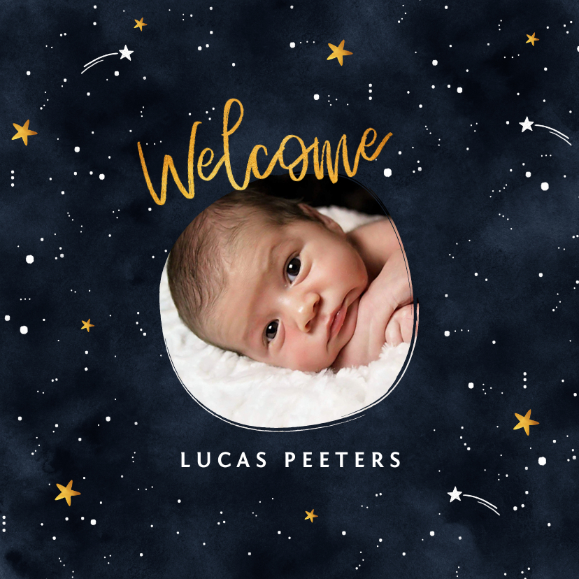Geboortekaartjes - Geboortekaartje universum met sterren en foto