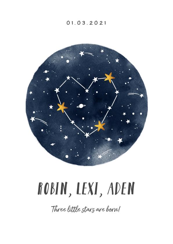 Geboortekaartjes - Geboortekaartje universum met sterren voor een meerling