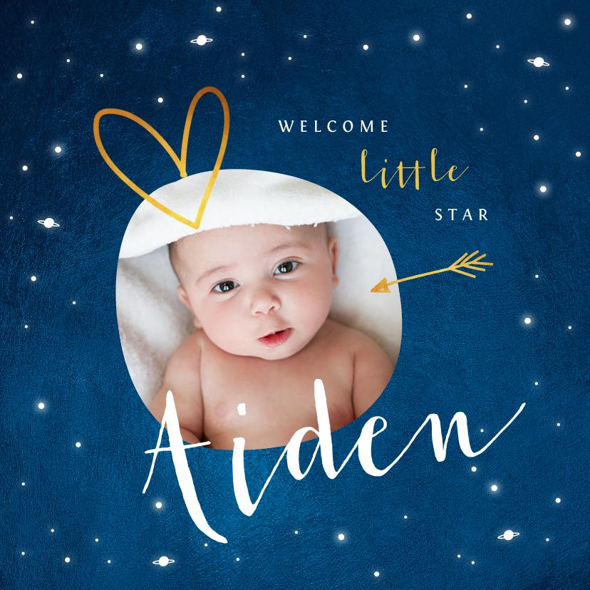 Geboortekaartjes - Geboortekaartje universum sterren foto goud