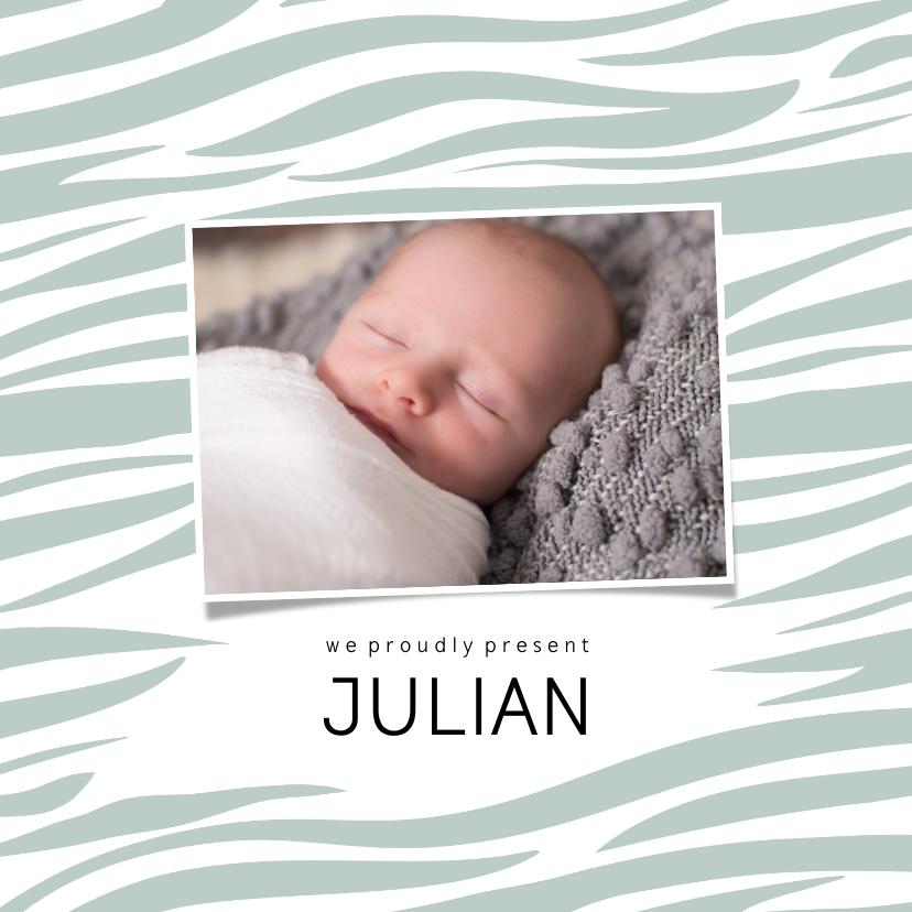 Geboortekaartjes - Geboortekaartje vierkant zebraprint foto