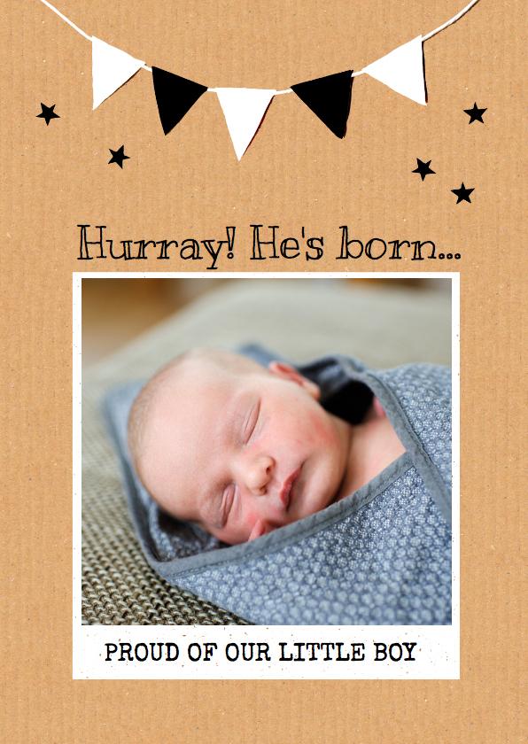 Geboortekaartjes - Geboortekaartje vlag karton ster