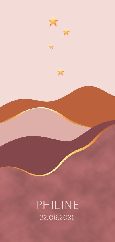 Geboortekaartjes - Geboortekaartje vlakken met goudlook en sterren