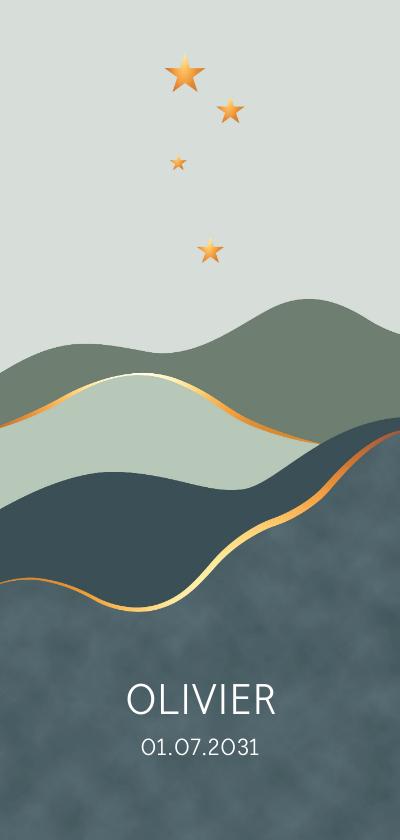 Geboortekaartjes - Geboortekaartje vlakken met sterren en goudlook