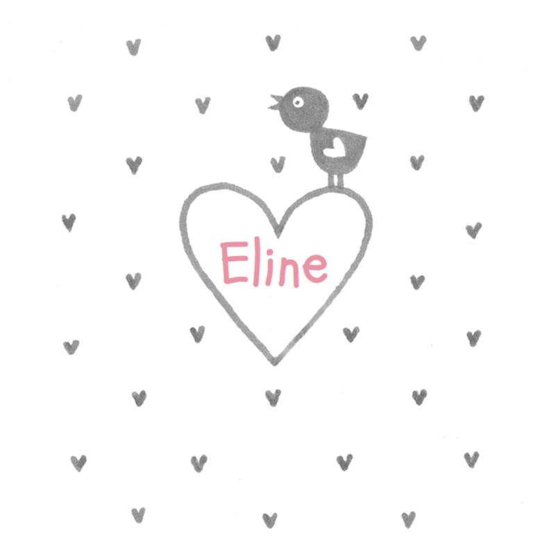 Geboortekaartjes - Geboortekaartje vogel op hart