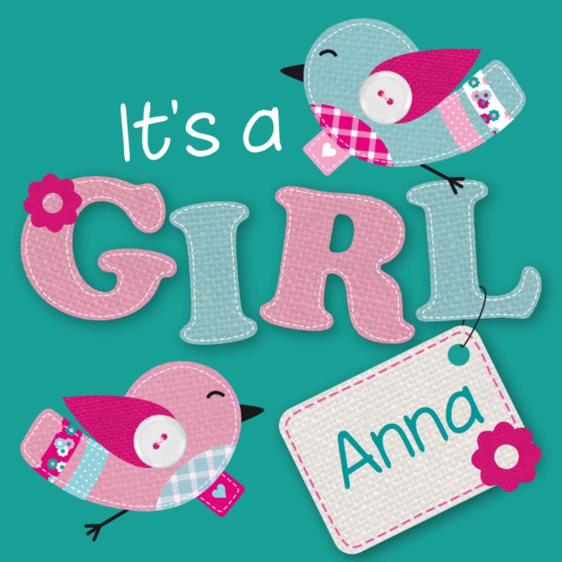 Geboortekaartjes - Geboortekaartje Vogeltjes Meisje