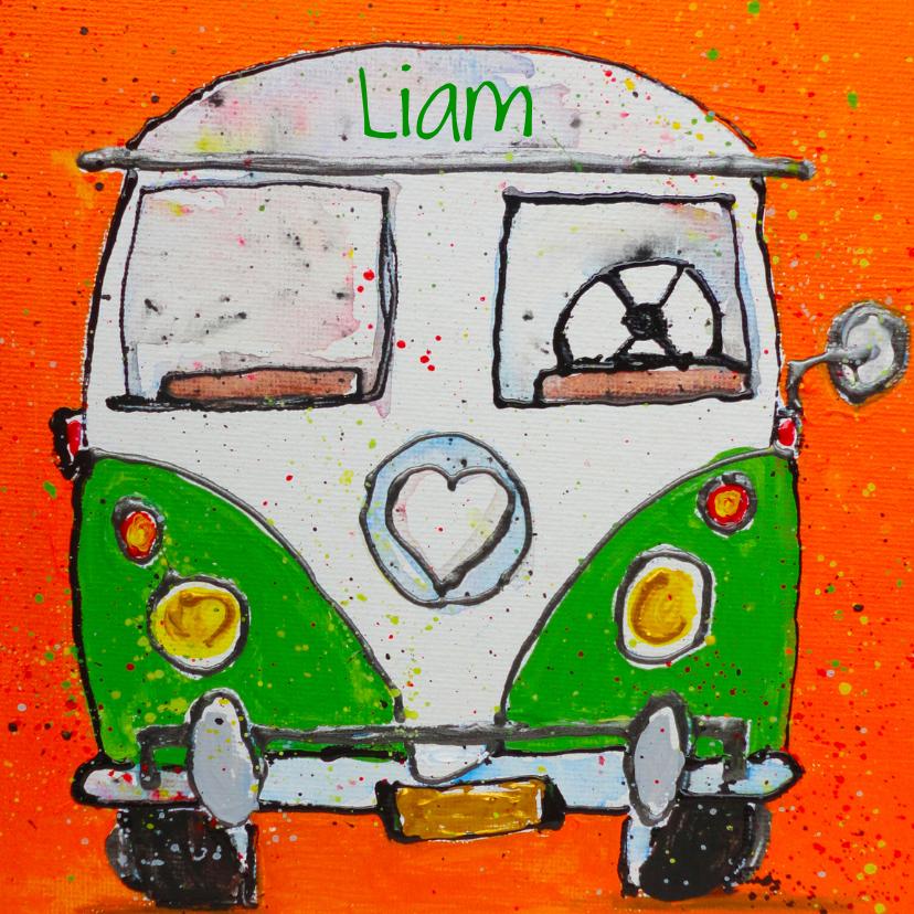 Geboortekaartjes - Geboortekaartje volkswagenbus kleur