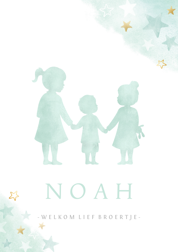 Geboortekaartjes - Geboortekaartje voor een broertje met 2 zussen