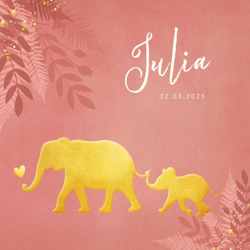 Geboortekaartjes - Geboortekaartje voor een meisje Jungle met gouden olifant