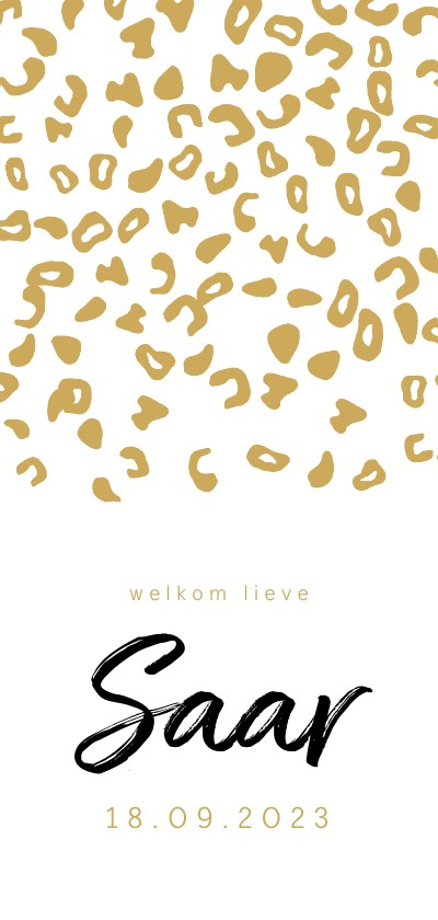 Geboortekaartjes - Geboortekaartje voor een meisje met okergele luipaardprint