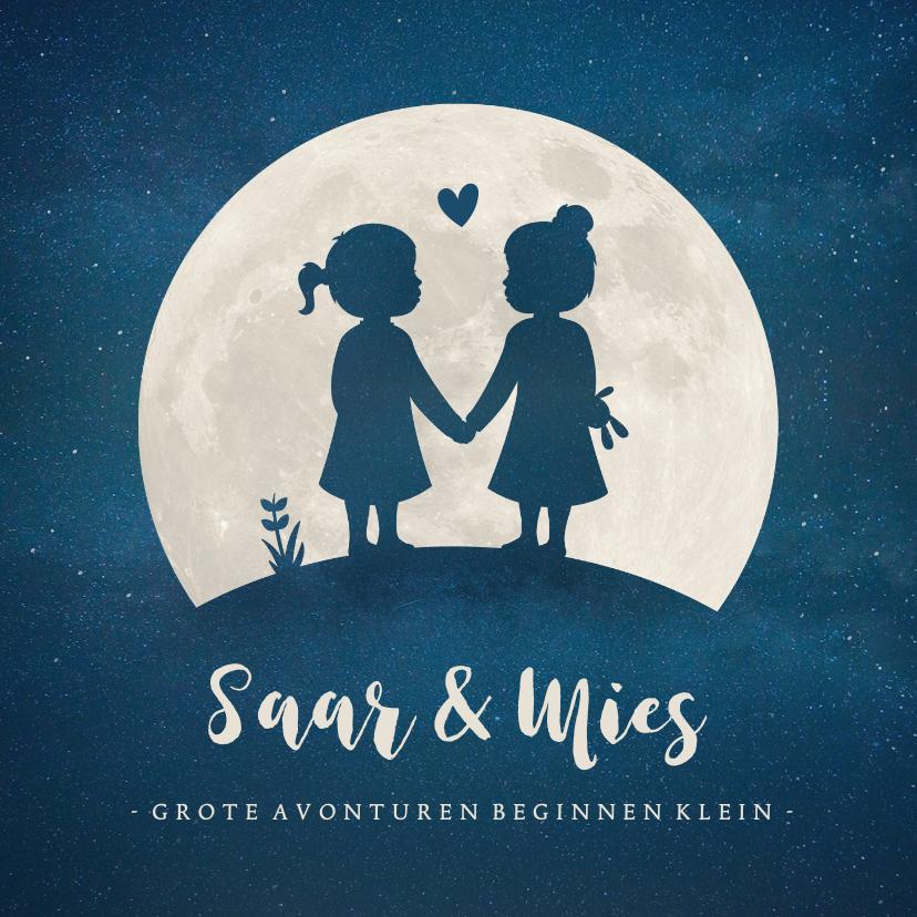 Geboortekaartjes - Geboortekaartje voor een meisjes tweeling silhouette in maan
