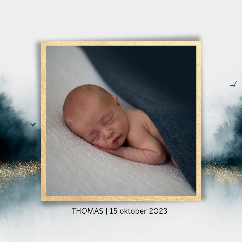 Geboortekaartjes - Geboortekaartje voor jongens met navy blauw en foto