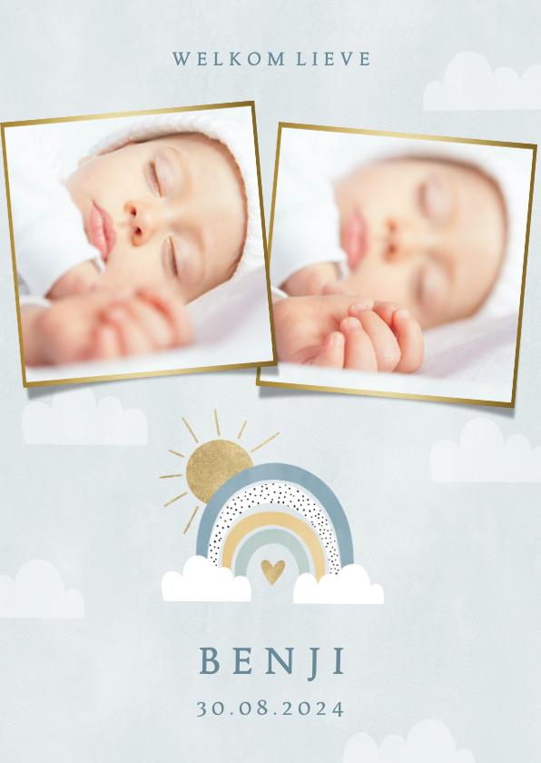 Geboortekaartjes - Geboortekaartje voor jongetje met foto's regenboog & wolkjes