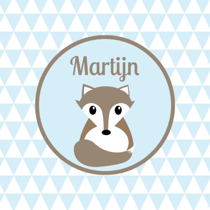 Geboortekaartjes - Geboortekaartje vos blauw