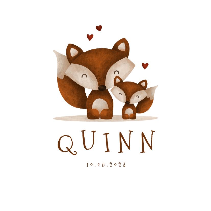 Geboortekaartjes - Geboortekaartje vos met broer/zus en hartjes lief