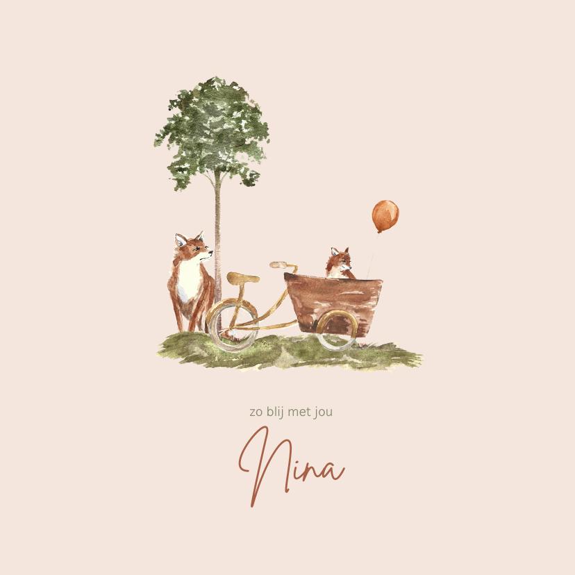 Geboortekaartjes - Geboortekaartje vos met vosje in bakfiets bij een boom