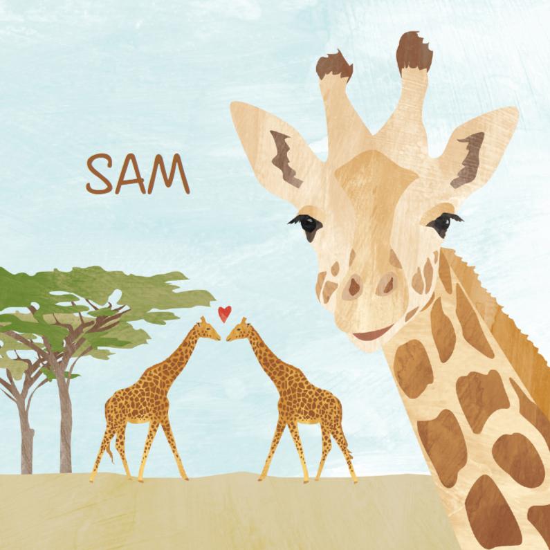 Geboortekaartjes - Geboortekaartje vrolijke giraf