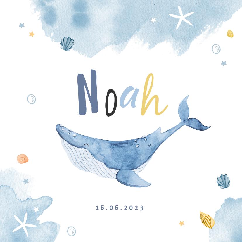 Geboortekaartjes - Geboortekaartje walvis waterverf lief zeesterren schildpad
