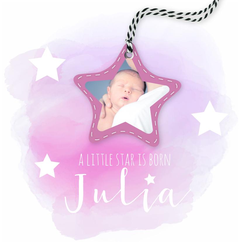Geboortekaartjes - Geboortekaartje watercolor met sterren