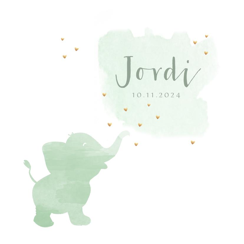 Geboortekaartjes - Geboortekaartje watercolor olifant groen