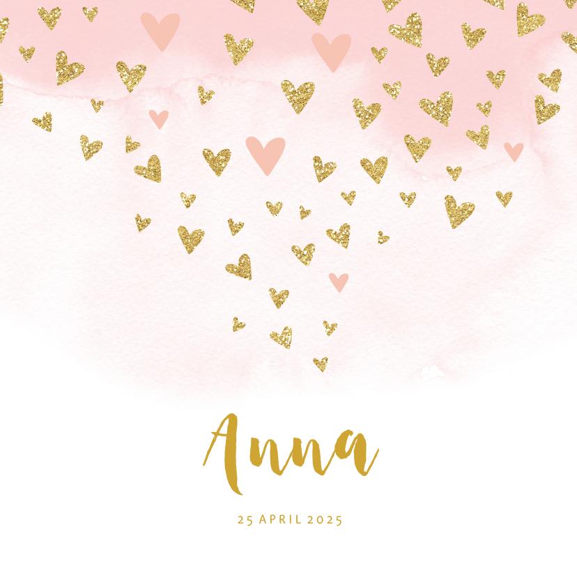 Geboortekaartjes - Geboortekaartje waterverf gouden hartjes meisje