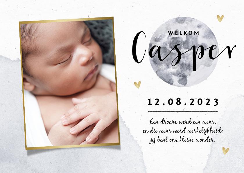 Geboortekaartjes - Geboortekaartje waterverf maan foto hartjes goud