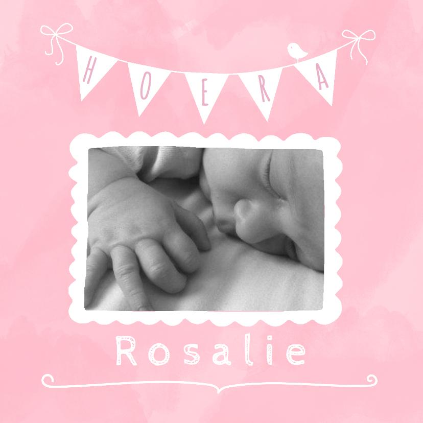 Geboortekaartjes - Geboortekaartje waterverf roze