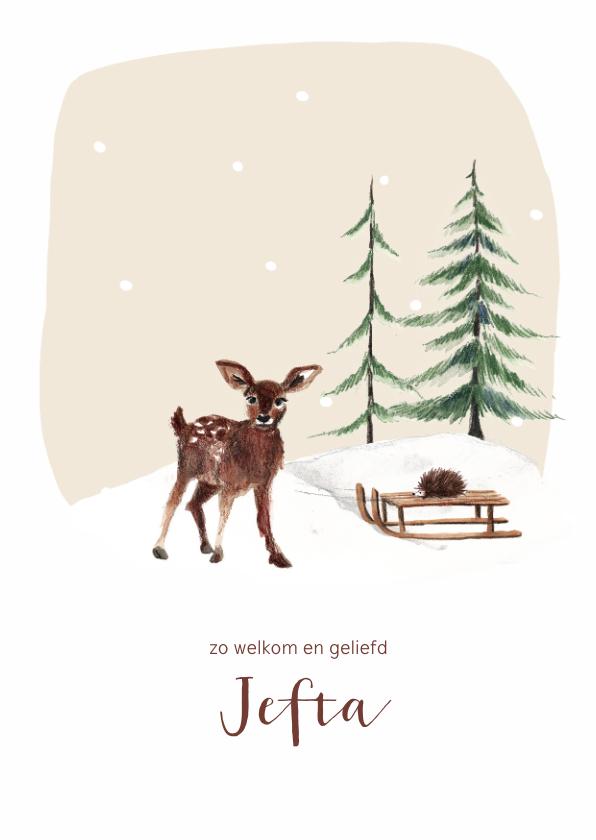 Geboortekaartjes - Geboortekaartje winter hert sneeuw met slee en egel