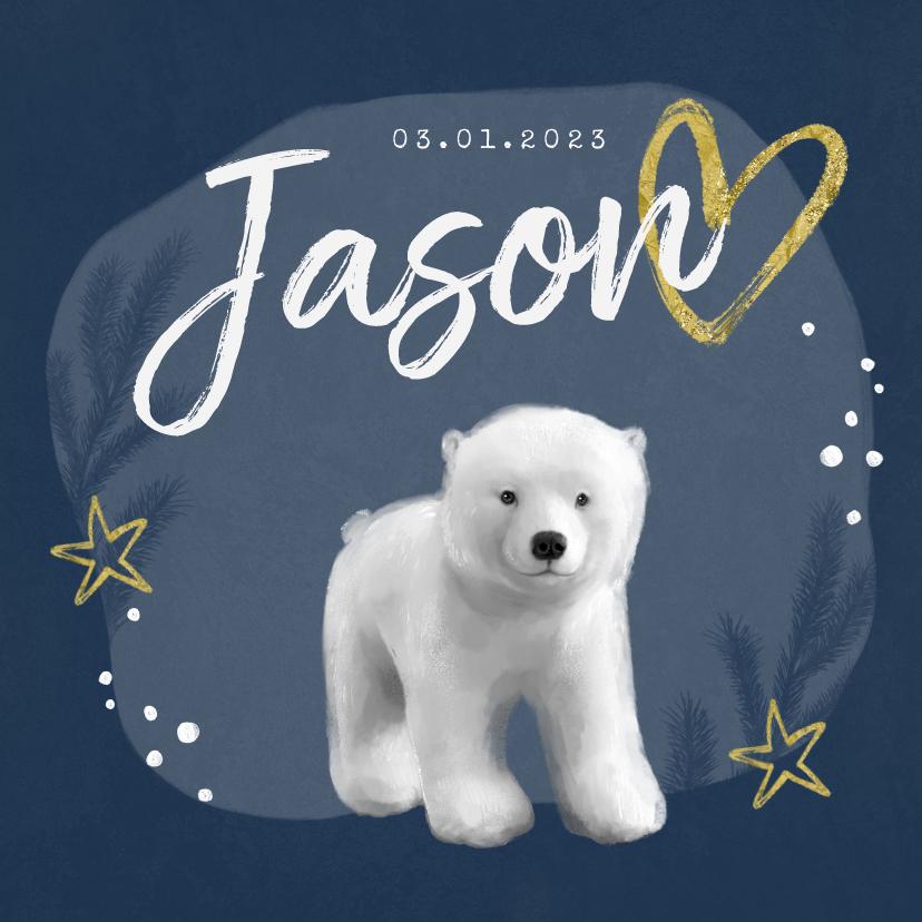 Geboortekaartjes - Geboortekaartje winter ijsbeer jongen goud hartje