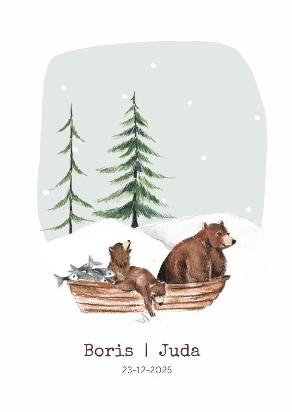 Geboortekaartjes - Geboortekaartje winter tweeling beren in een bootje