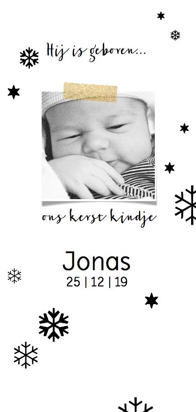 Geboortekaartjes - Geboortekaartje winter zwart-wit