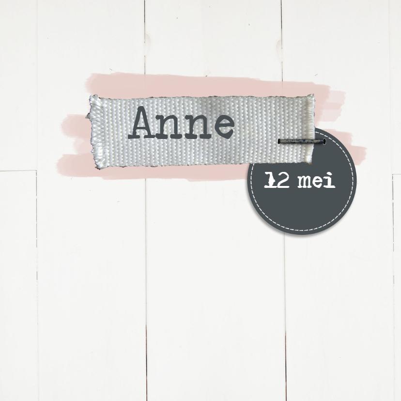 Geboortekaartjes - Geboortekaartje wit hout meisje
