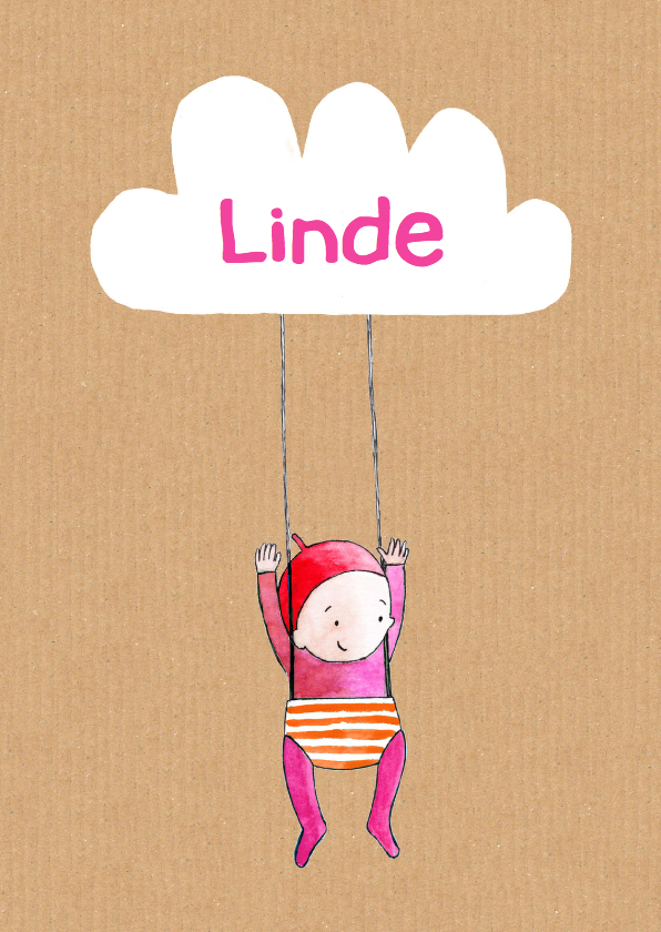Geboortekaartjes - geboortekaartje wolk Linde