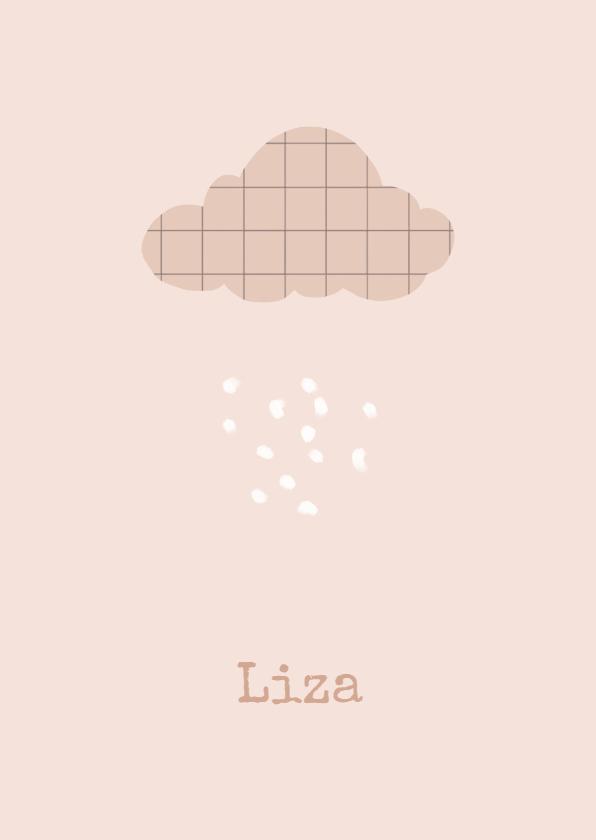 Geboortekaartjes - Geboortekaartje wolk roze